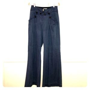 Blue button up wide leg pant